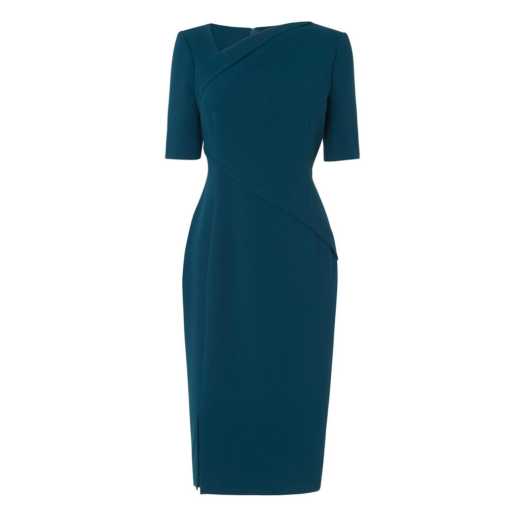Saskia Evergreen Dress - style: shift; fit: tailored/fitted; pattern: plain; waist detail: fitted waist; neckline: asymmetric; hip detail: draws attention to hips; predominant colour: teal; occasions: evening, occasion; length: on the knee; fibres: polyester/polyamide - 100%; sleeve length: short sleeve; sleeve style: standard; texture group: crepes; pattern type: fabric; season: a/w 2016; wardrobe: event
