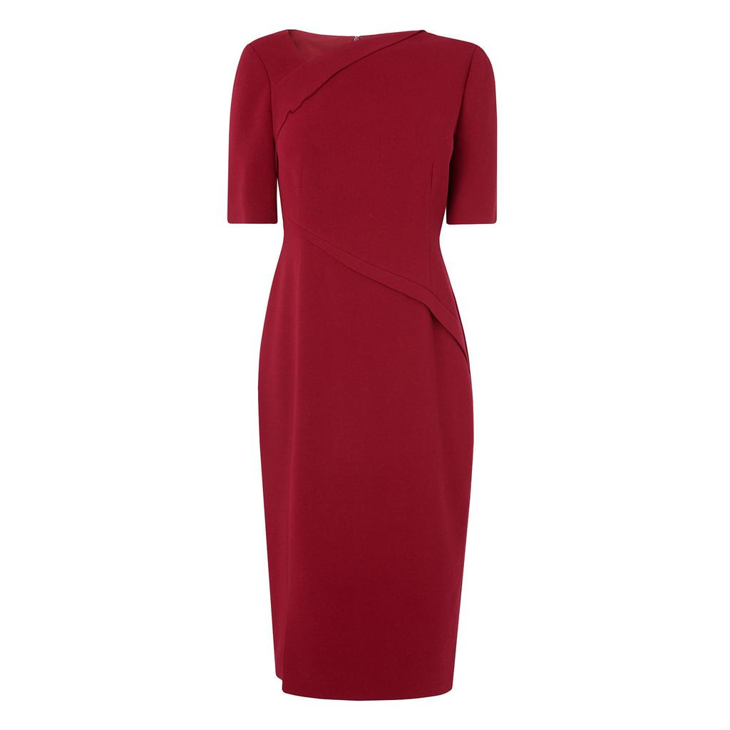 Saskia Deep Rose Dress Pink Deep Rose - style: shift; fit: tailored/fitted; pattern: plain; predominant colour: burgundy; occasions: evening, occasion; length: on the knee; fibres: polyester/polyamide - 100%; neckline: crew; sleeve length: short sleeve; sleeve style: standard; texture group: crepes; pattern type: fabric; season: a/w 2016; wardrobe: event