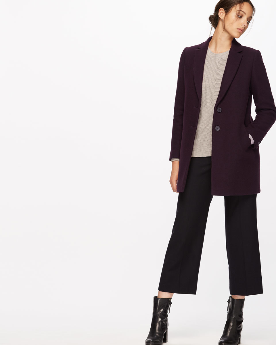 Compact Wool Coat - pattern: plain; style: single breasted; collar: standard lapel/rever collar; length: mid thigh; predominant colour: aubergine; occasions: casual, work, creative work; fit: tailored/fitted; fibres: wool - mix; sleeve length: long sleeve; sleeve style: standard; collar break: medium; pattern type: fabric; texture group: woven bulky/heavy; season: a/w 2016; wardrobe: highlight