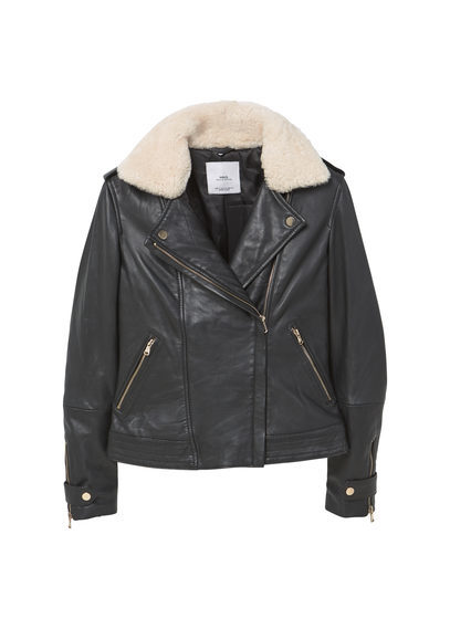 Shearling Lined Leather Jacket - style: biker; collar: asymmetric biker; fit: slim fit; secondary colour: ivory/cream; predominant colour: black; occasions: casual; length: standard; fibres: leather - 100%; sleeve length: long sleeve; sleeve style: standard; texture group: leather; collar break: medium; pattern type: fabric; pattern size: standard; pattern: colourblock; embellishment: fur; season: a/w 2016; wardrobe: highlight; embellishment location: neck