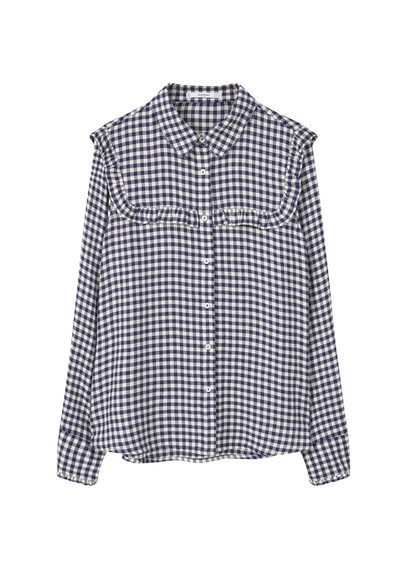 Check Blouse - neckline: shirt collar/peter pan/zip with opening; pattern: checked/gingham; style: shirt; secondary colour: white; predominant colour: navy; occasions: casual; length: standard; fibres: viscose/rayon - 100%; fit: loose; sleeve length: long sleeve; sleeve style: standard; bust detail: bulky details at bust; pattern type: fabric; texture group: other - light to midweight; multicoloured: multicoloured; season: a/w 2016; wardrobe: highlight
