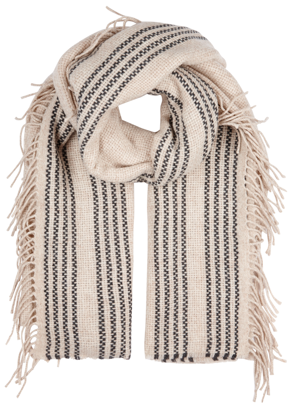 Stone Fringed Wool Blend Scarf - predominant colour: ivory/cream; secondary colour: black; occasions: casual; type of pattern: light; style: regular; size: standard; material: knits; pattern: vertical stripes; multicoloured: multicoloured; season: a/w 2016; wardrobe: highlight