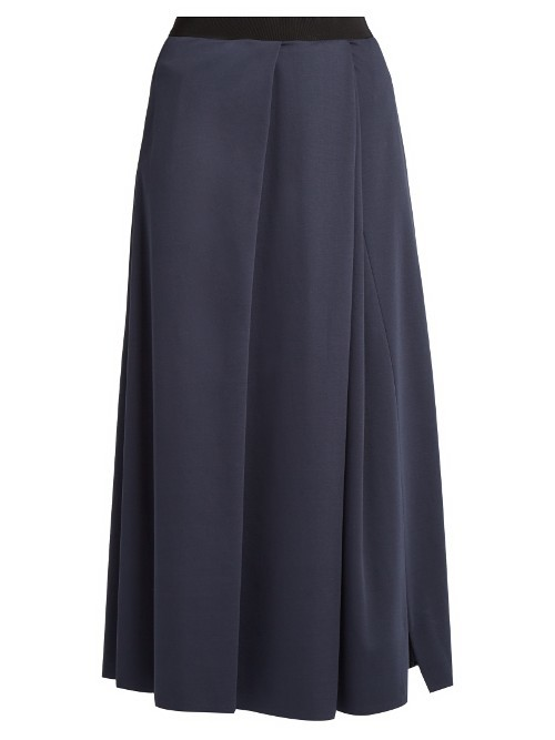 Canzone Skirt - length: calf length; pattern: plain; style: full/prom skirt; fit: loose/voluminous; waist: high rise; predominant colour: navy; occasions: work, creative work; fibres: cotton - 100%; hip detail: soft pleats at hip/draping at hip/flared at hip; pattern type: fabric; texture group: jersey - stretchy/drapey; wardrobe: basic; season: a/w 2016
