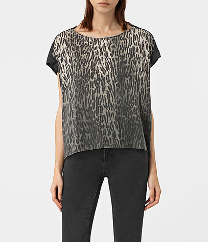 Sinai Pina Tee - neckline: round neck; sleeve style: capped; style: t-shirt; predominant colour: black; occasions: casual, creative work; length: standard; fibres: cotton - mix; fit: straight cut; sleeve length: short sleeve; pattern type: fabric; pattern: animal print; texture group: jersey - stretchy/drapey; season: a/w 2016; wardrobe: highlight