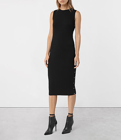Rossa Merino Dress - length: below the knee; fit: tight; pattern: plain; sleeve style: sleeveless; style: bodycon; predominant colour: black; occasions: evening; fibres: wool - 100%; neckline: crew; sleeve length: sleeveless; texture group: knits/crochet; pattern type: fabric; season: a/w 2016; wardrobe: event