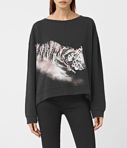 Tora Lo Sweatshirt - neckline: round neck; style: sweat top; predominant colour: black; occasions: casual; length: standard; fibres: cotton - 100%; fit: loose; sleeve length: long sleeve; sleeve style: standard; pattern type: fabric; pattern size: standard; pattern: patterned/print; texture group: jersey - stretchy/drapey; season: a/w 2016; wardrobe: highlight