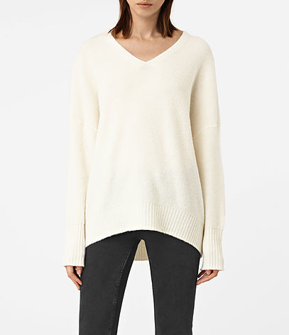 Alpha V Neck Jumper - neckline: v-neck; pattern: plain; length: below the bottom; style: standard; predominant colour: ivory/cream; occasions: casual, creative work; fibres: wool - mix; fit: loose; back detail: longer hem at back than at front; sleeve length: long sleeve; sleeve style: standard; texture group: knits/crochet; pattern type: knitted - fine stitch; wardrobe: basic; season: a/w 2016