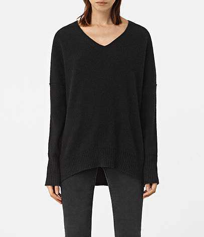 Alpha V Neck Jumper - neckline: v-neck; pattern: plain; length: below the bottom; style: standard; predominant colour: black; occasions: casual, creative work; fibres: wool - mix; fit: loose; back detail: longer hem at back than at front; sleeve length: long sleeve; sleeve style: standard; texture group: knits/crochet; pattern type: knitted - fine stitch; wardrobe: basic; season: a/w 2016