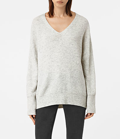 Alpha V Neck Jumper - neckline: v-neck; pattern: plain; length: below the bottom; style: standard; predominant colour: light grey; occasions: casual, creative work; fibres: wool - mix; fit: standard fit; sleeve length: long sleeve; sleeve style: standard; texture group: knits/crochet; pattern type: knitted - fine stitch; wardrobe: basic; season: a/w 2016