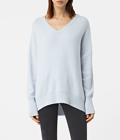 Alpha V Neck Jumper - neckline: v-neck; pattern: plain; length: below the bottom; style: standard; predominant colour: pale blue; occasions: casual, creative work; fibres: wool - mix; fit: loose; back detail: longer hem at back than at front; sleeve length: long sleeve; sleeve style: standard; texture group: knits/crochet; pattern type: knitted - fine stitch; season: a/w 2016; wardrobe: highlight
