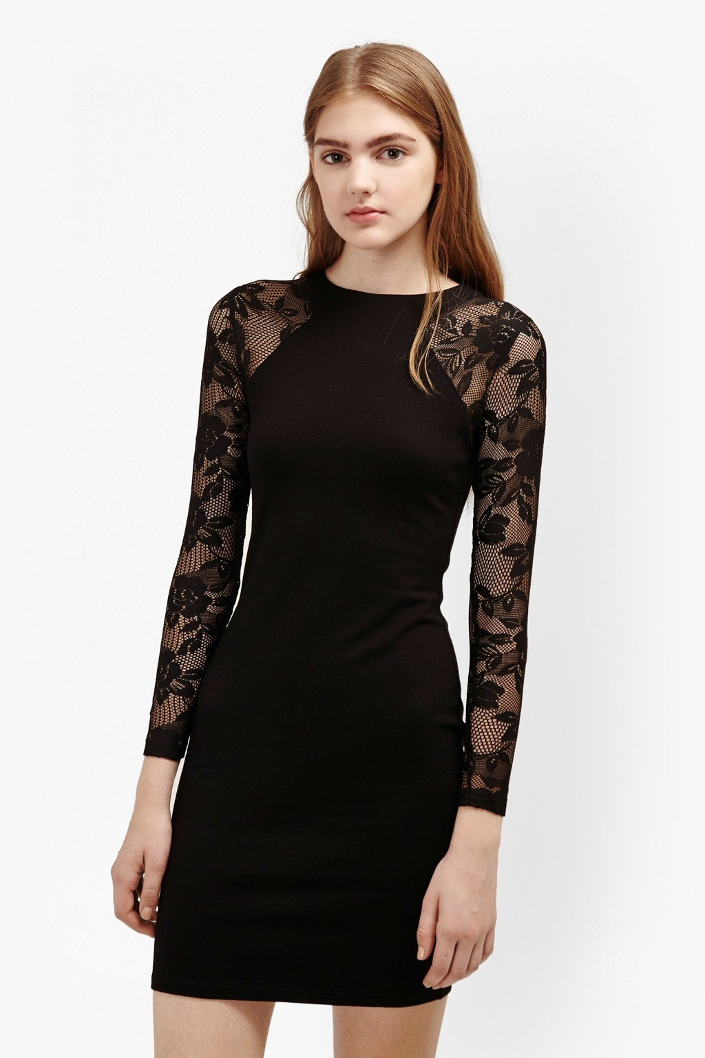 Tatlin Beau Jersey Lace Dress Black - length: mid thigh; fit: tight; style: bodycon; hip detail: fitted at hip; predominant colour: black; occasions: evening; fibres: polyester/polyamide - stretch; neckline: crew; sleeve length: long sleeve; sleeve style: standard; texture group: lace; pattern type: fabric; pattern size: standard; pattern: florals; shoulder detail: sheer at shoulder; season: a/w 2016; wardrobe: event