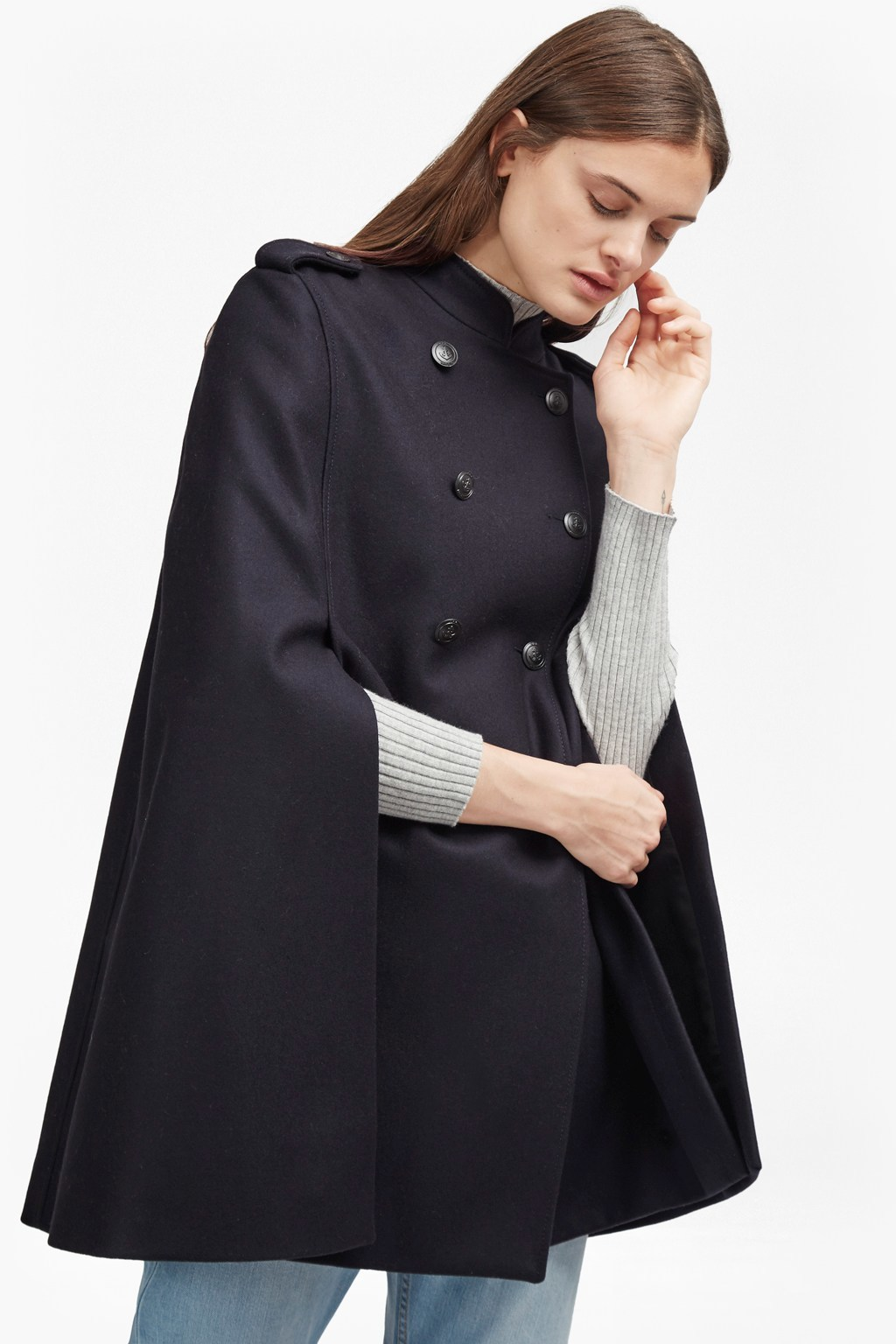 Platform Felt Double Breast Cape Utility Blue - pattern: plain; fit: loose; style: cape; collar: high neck; length: mid thigh; predominant colour: black; occasions: casual; fibres: wool - mix; sleeve length: long sleeve; collar break: high; pattern type: fabric; texture group: woven bulky/heavy; sleeve style: cape/poncho sleeve; season: a/w 2016; wardrobe: highlight