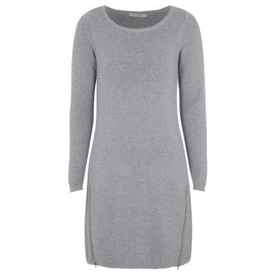 Ripple Knit Dress Light Grey - style: jumper dress; pattern: plain; predominant colour: light grey; occasions: casual; length: just above the knee; fit: body skimming; fibres: cotton - mix; neckline: crew; sleeve length: long sleeve; sleeve style: standard; pattern type: knitted - fine stitch; texture group: jersey - stretchy/drapey; wardrobe: basic; season: a/w 2016