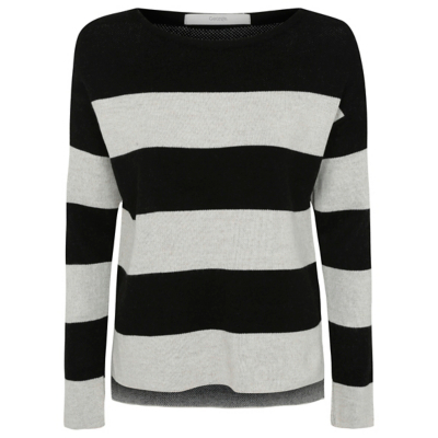 Stripe Knit Jumper Black - pattern: horizontal stripes; style: standard; secondary colour: white; predominant colour: black; occasions: casual; length: standard; fibres: acrylic - 100%; fit: standard fit; neckline: crew; sleeve length: long sleeve; sleeve style: standard; texture group: knits/crochet; pattern type: knitted - other; multicoloured: multicoloured; season: a/w 2016; wardrobe: highlight
