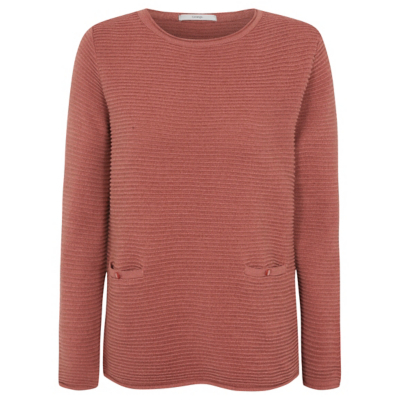 Ripple Textured Jumper Burnt Orange - pattern: plain; style: standard; predominant colour: terracotta; occasions: casual; length: standard; fibres: acrylic - mix; fit: slim fit; neckline: crew; sleeve length: long sleeve; sleeve style: standard; texture group: knits/crochet; pattern type: knitted - other; season: a/w 2016; wardrobe: highlight