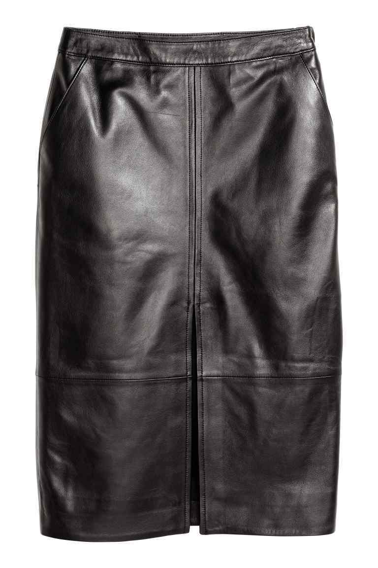 Leather Pencil Skirt - pattern: plain; style: pencil; fit: tailored/fitted; waist: high rise; predominant colour: black; occasions: evening, creative work; length: on the knee; fibres: leather - 100%; waist detail: narrow waistband; texture group: leather; pattern type: fabric; season: a/w 2016