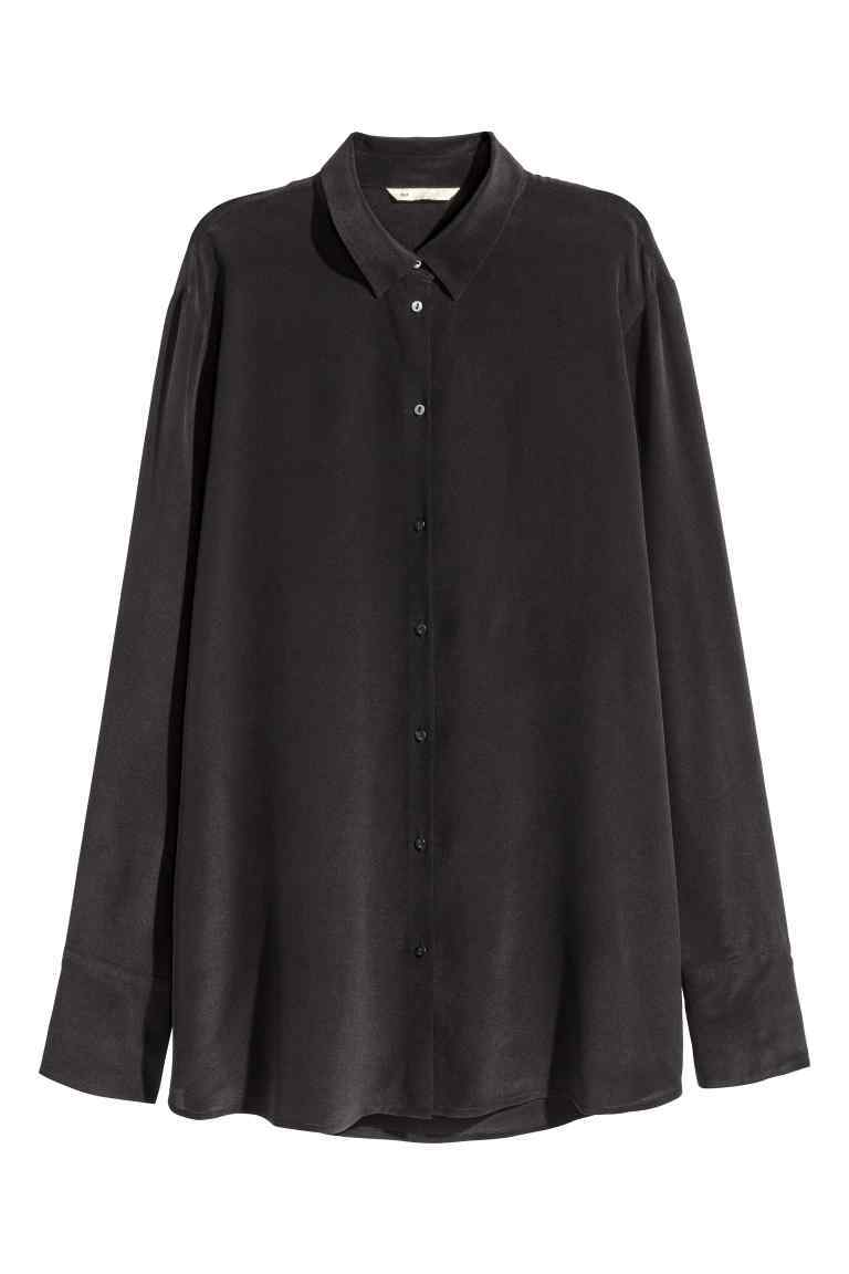 Silk Blouse - neckline: shirt collar/peter pan/zip with opening; pattern: plain; length: below the bottom; style: shirt; predominant colour: black; occasions: casual, creative work; fibres: silk - 100%; fit: straight cut; sleeve length: long sleeve; sleeve style: standard; texture group: crepes; pattern type: fabric; wardrobe: basic; season: a/w 2016