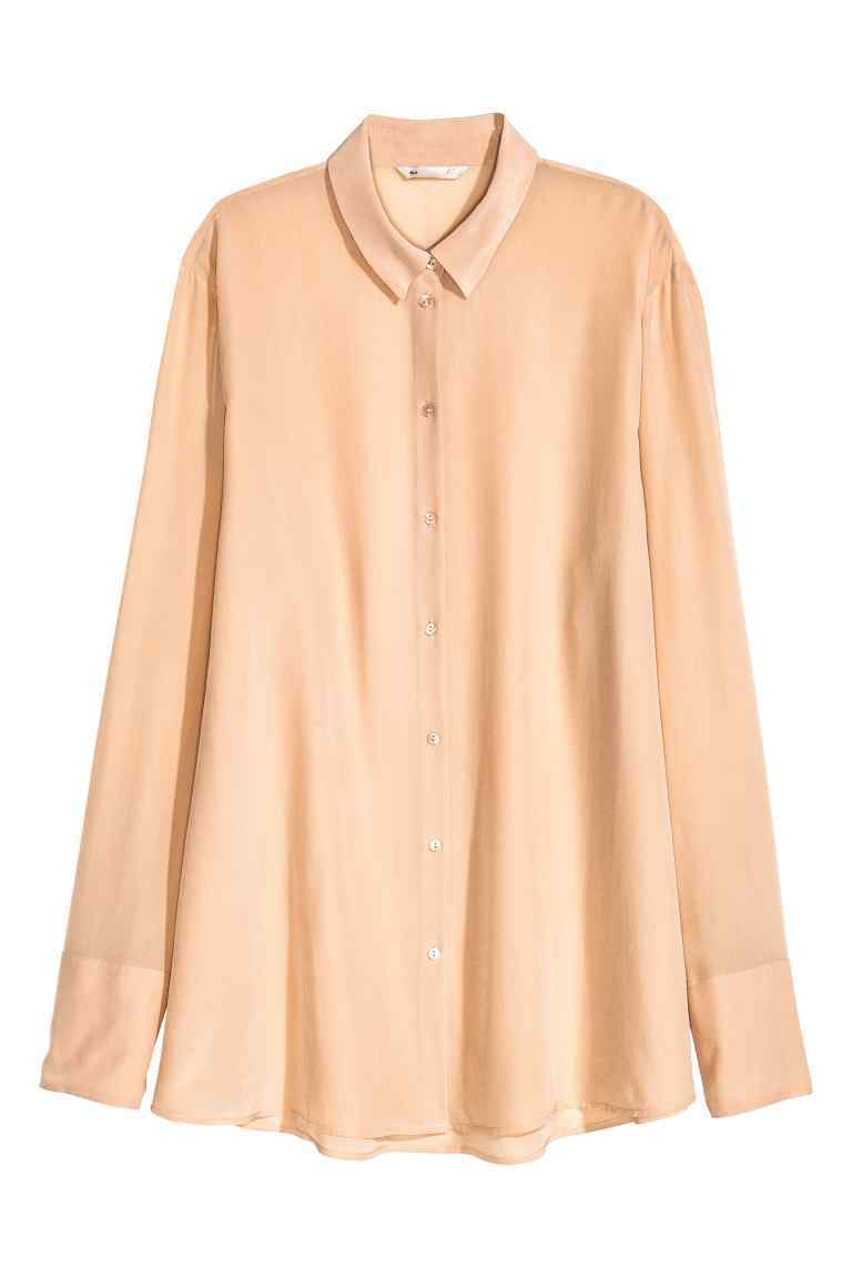 Silk Blouse - neckline: shirt collar/peter pan/zip with opening; pattern: plain; style: shirt; predominant colour: blush; occasions: casual, creative work; length: standard; fibres: silk - 100%; fit: body skimming; sleeve length: long sleeve; sleeve style: standard; texture group: silky - light; pattern type: fabric; season: a/w 2016