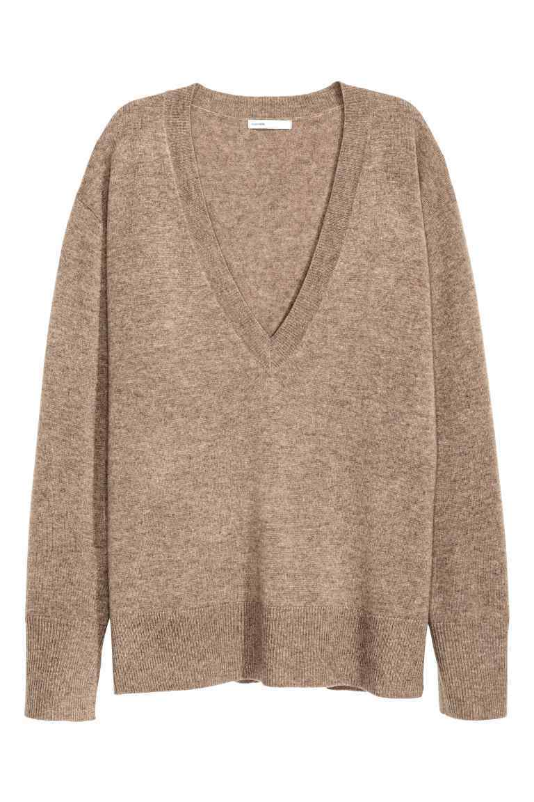 V Neck Cashmere Jumper - neckline: low v-neck; pattern: plain; length: below the bottom; style: standard; predominant colour: taupe; occasions: casual, creative work; fit: loose; fibres: cashmere - 100%; sleeve length: long sleeve; sleeve style: standard; texture group: knits/crochet; pattern type: knitted - fine stitch; season: a/w 2016
