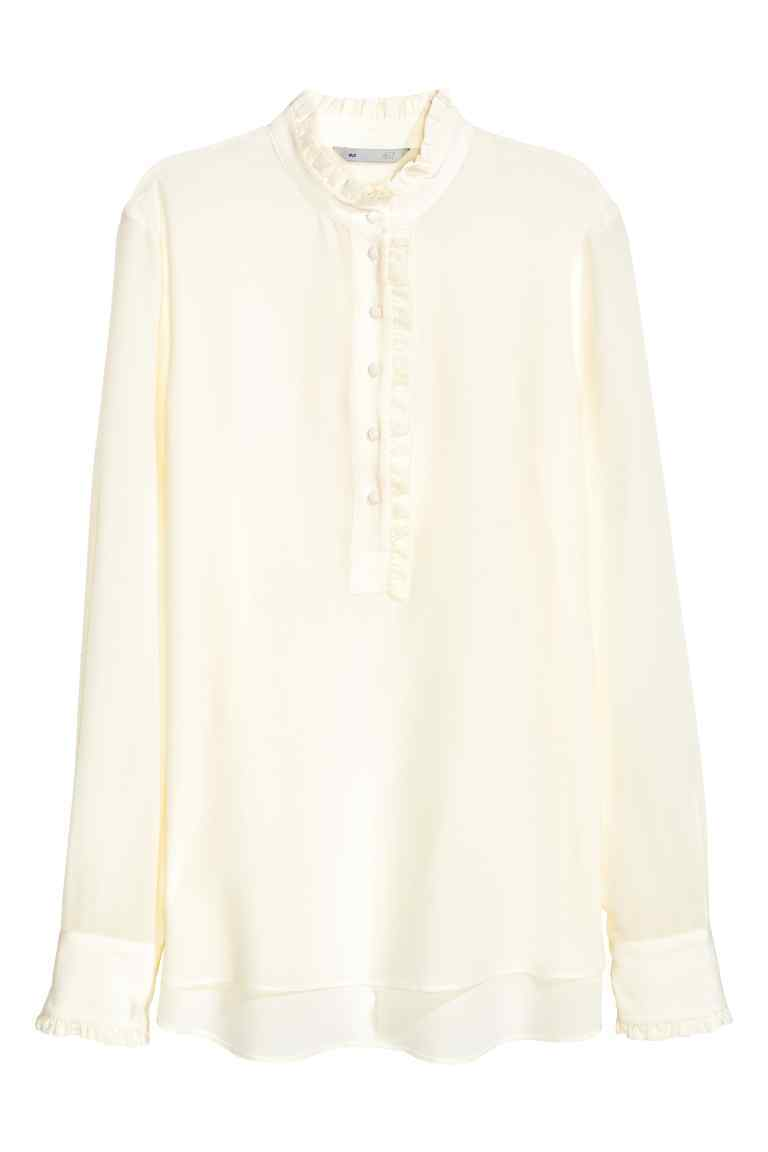 Frilled Silk Blouse - pattern: plain; neckline: high neck; style: blouse; predominant colour: ivory/cream; occasions: evening; length: standard; fibres: silk - 100%; fit: body skimming; sleeve length: long sleeve; sleeve style: standard; texture group: silky - light; pattern type: fabric; season: a/w 2016