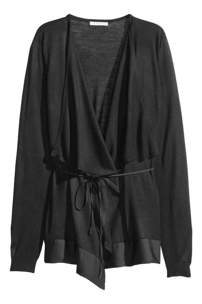 Draped Cardigan - pattern: plain; style: belted; neckline: waterfall neck; length: below the bottom; predominant colour: black; occasions: casual, creative work; fibres: acrylic - mix; fit: loose; waist detail: belted waist/tie at waist/drawstring; sleeve length: long sleeve; sleeve style: standard; texture group: knits/crochet; pattern type: knitted - fine stitch; season: a/w 2016