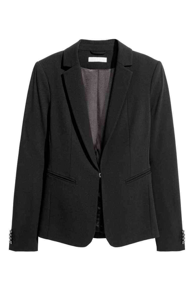 Tailored Jacket - pattern: plain; style: single breasted blazer; collar: standard lapel/rever collar; predominant colour: black; occasions: work; length: standard; fit: tailored/fitted; fibres: viscose/rayon - stretch; sleeve length: long sleeve; sleeve style: standard; collar break: medium; pattern type: fabric; texture group: woven light midweight; wardrobe: investment; season: a/w 2016