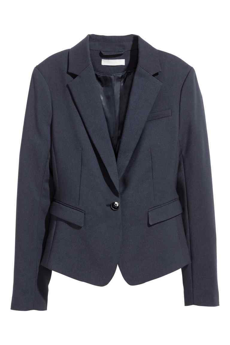 Fitted Jacket - pattern: plain; style: single breasted blazer; collar: standard lapel/rever collar; predominant colour: navy; occasions: work; length: standard; fit: tailored/fitted; fibres: cotton - stretch; sleeve length: long sleeve; sleeve style: standard; collar break: medium; pattern type: fabric; texture group: woven light midweight; wardrobe: investment; season: a/w 2016