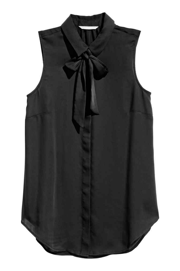 Blouse With A Tie - pattern: plain; sleeve style: sleeveless; neckline: pussy bow; style: blouse; predominant colour: black; occasions: evening; length: standard; fibres: polyester/polyamide - 100%; fit: body skimming; sleeve length: sleeveless; texture group: sheer fabrics/chiffon/organza etc.; pattern type: fabric; season: a/w 2016; wardrobe: event