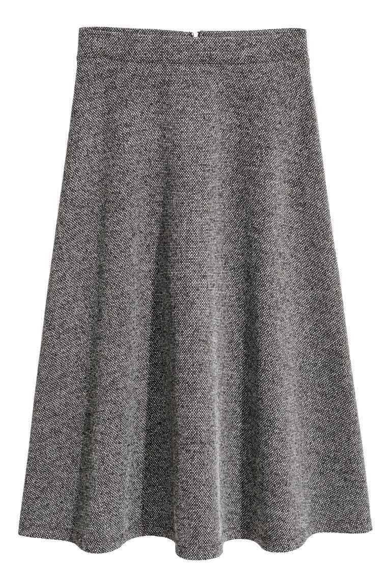 Textured Skirt - length: below the knee; fit: loose/voluminous; waist: high rise; pattern: herringbone/tweed; predominant colour: mid grey; occasions: work; style: a-line; fibres: polyester/polyamide - stretch; hip detail: subtle/flattering hip detail; waist detail: feature waist detail; pattern type: fabric; texture group: woven light midweight; pattern size: light/subtle (bottom); season: a/w 2016; wardrobe: highlight