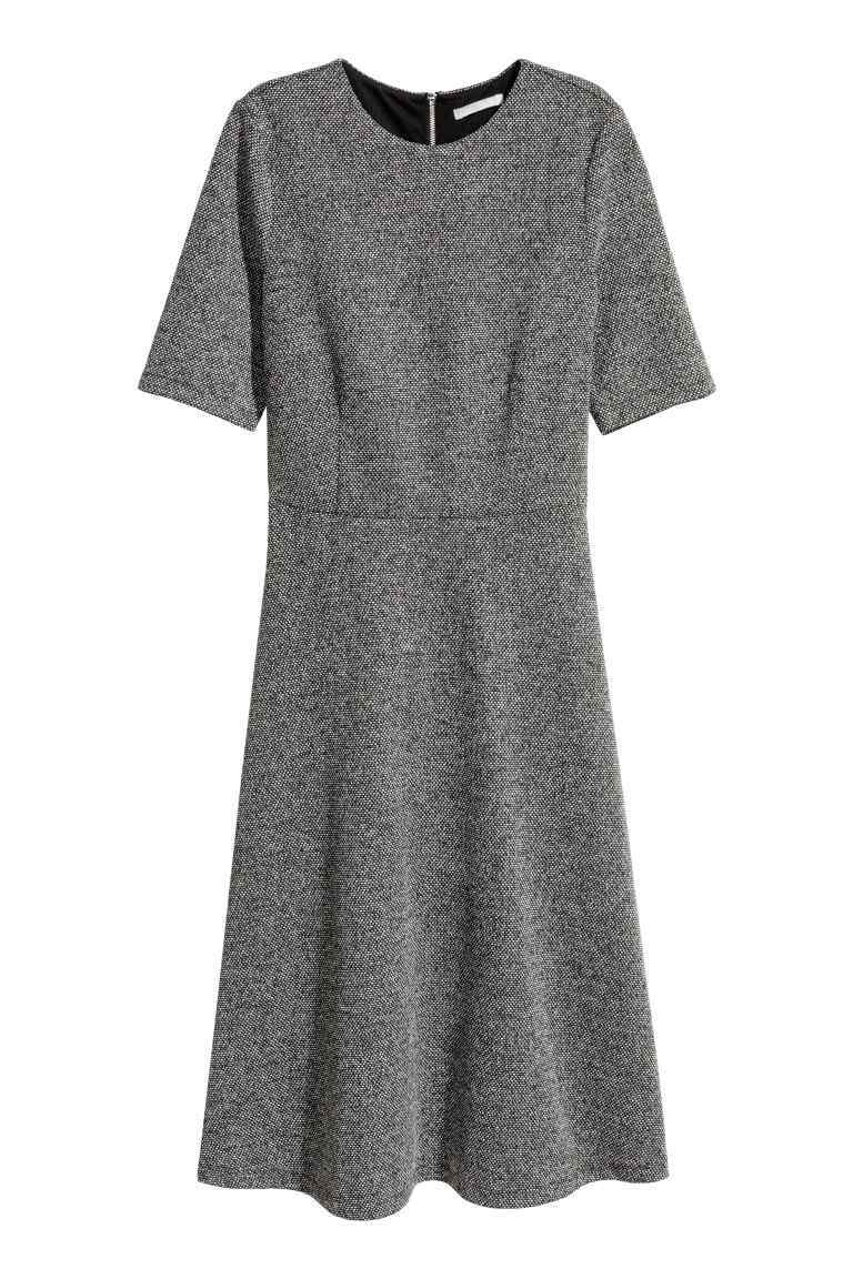 Textured Dress - pattern: herringbone/tweed; predominant colour: charcoal; occasions: work; length: on the knee; fit: fitted at waist & bust; style: fit & flare; fibres: polyester/polyamide - 100%; neckline: crew; sleeve length: short sleeve; sleeve style: standard; pattern type: fabric; pattern size: light/subtle; texture group: tweed - light/midweight; season: a/w 2016; wardrobe: highlight