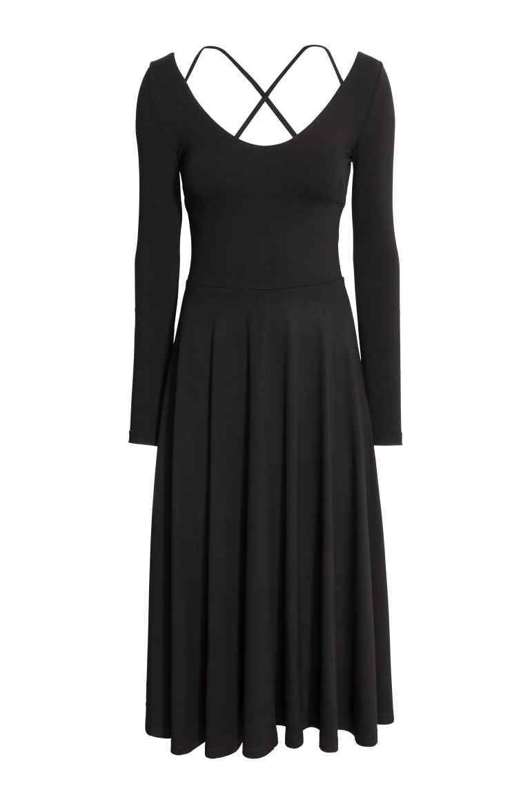 Calf Length Dress - length: below the knee; pattern: plain; waist detail: fitted waist; predominant colour: black; occasions: evening; fit: fitted at waist & bust; style: fit & flare; neckline: scoop; fibres: polyester/polyamide - stretch; hip detail: soft pleats at hip/draping at hip/flared at hip; back detail: crossover; sleeve length: long sleeve; sleeve style: standard; pattern type: fabric; texture group: jersey - stretchy/drapey; season: a/w 2016; wardrobe: event