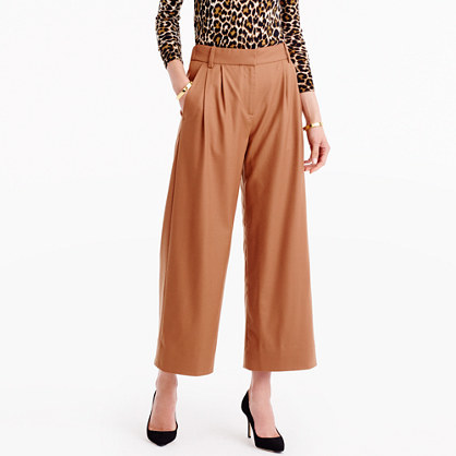 Tall Cropped Pant In Wool Flannel - pattern: plain; waist: mid/regular rise; predominant colour: camel; occasions: casual, creative work; length: ankle length; fibres: wool - 100%; fit: wide leg; pattern type: fabric; texture group: woven light midweight; style: standard; wardrobe: basic; season: a/w 2016