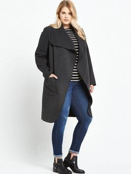 Blanket Coat - pattern: plain; collar: shawl/waterfall; fit: loose; length: mid thigh; predominant colour: charcoal; occasions: casual, creative work; style: cocoon; fibres: polyester/polyamide - mix; hip detail: subtle/flattering hip detail; sleeve length: long sleeve; sleeve style: standard; collar break: low/open; pattern type: fabric; texture group: woven bulky/heavy; wardrobe: basic; season: a/w 2016