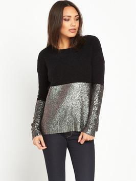 Coated Gold Foil Shiny Knit Top - secondary colour: silver; predominant colour: black; occasions: casual; length: standard; style: top; fibres: polyester/polyamide - mix; fit: body skimming; neckline: crew; sleeve length: long sleeve; sleeve style: standard; pattern type: fabric; pattern: colourblock; texture group: jersey - stretchy/drapey; multicoloured: multicoloured; season: a/w 2016; wardrobe: highlight; trends: metallics