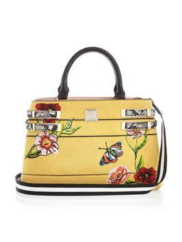 Embroidered Side Strap Mini Tote - secondary colour: true red; predominant colour: primrose yellow; occasions: casual, creative work; type of pattern: standard; style: tote; length: handle; size: standard; material: faux leather; finish: plain; pattern: patterned/print; multicoloured: multicoloured; season: a/w 2016; wardrobe: highlight