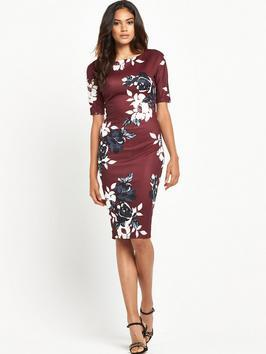 Half Sleeve Floral Bodycon - fit: tight; style: bodycon; secondary colour: white; predominant colour: burgundy; occasions: evening; length: on the knee; fibres: viscose/rayon - stretch; neckline: crew; sleeve length: half sleeve; sleeve style: standard; texture group: jersey - clingy; pattern type: fabric; pattern: florals; multicoloured: multicoloured; season: a/w 2016; wardrobe: event; trends: opulent prints