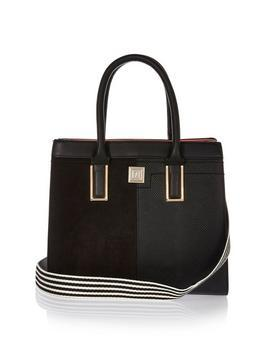Boxy Tote - secondary colour: white; predominant colour: black; type of pattern: standard; style: tote; length: handle; size: standard; material: faux leather; pattern: plain; finish: plain; occasions: creative work; wardrobe: investment; season: a/w 2016