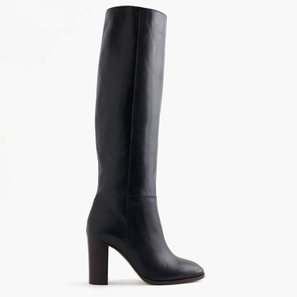 High Heel Knee Boots In Leather - predominant colour: black; occasions: casual, creative work; material: leather; heel height: high; heel: block; toe: round toe; boot length: knee; style: standard; finish: plain; pattern: plain; season: a/w 2016