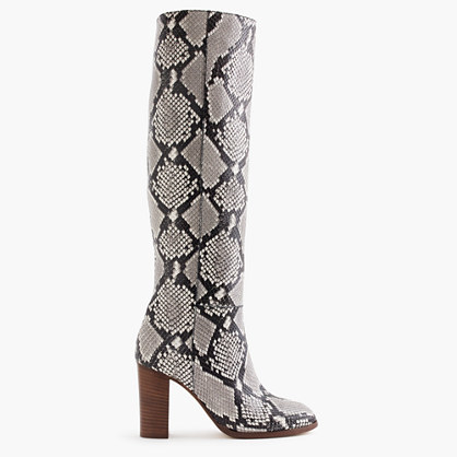 High Heel Knee Boots In Snakeskin Printed Leather - predominant colour: light grey; secondary colour: black; occasions: casual, creative work; material: leather; heel height: high; heel: block; toe: round toe; boot length: knee; style: standard; finish: plain; pattern: animal print; season: a/w 2016; wardrobe: highlight
