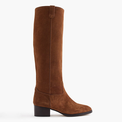Suede Knee Boots With Tabs - predominant colour: tan; occasions: casual, creative work; material: suede; heel height: flat; heel: standard; toe: round toe; boot length: knee; style: standard; finish: plain; pattern: plain; season: a/w 2016