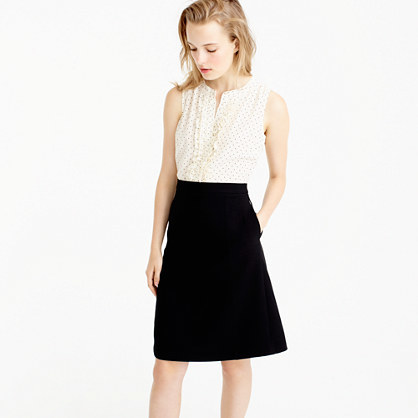 Two Piece Dress In Silk Baby Dot - style: shift; neckline: v-neck; pattern: plain; sleeve style: sleeveless; predominant colour: white; secondary colour: black; occasions: evening; length: on the knee; fit: body skimming; fibres: silk - 100%; sleeve length: sleeveless; texture group: crepes; bust detail: bulky details at bust; pattern type: fabric; multicoloured: multicoloured; season: a/w 2016; wardrobe: event