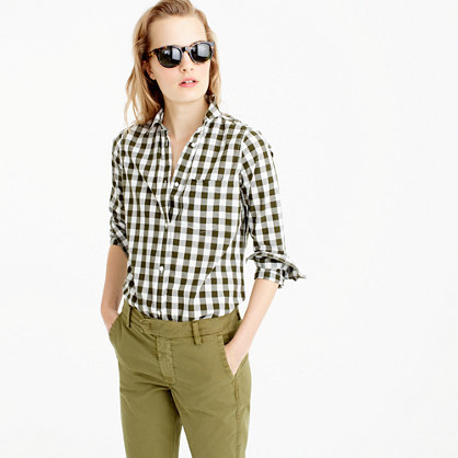 Lightweight Boy Shirt In Oversized Gingham - pattern: checked/gingham; style: shirt; secondary colour: ivory/cream; predominant colour: khaki; occasions: casual; length: standard; neckline: collarstand & mandarin with v-neck; fibres: cotton - 100%; fit: straight cut; sleeve length: 3/4 length; sleeve style: standard; texture group: cotton feel fabrics; pattern type: fabric; season: a/w 2016; wardrobe: highlight