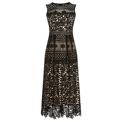 Multi Lace Midi Dress, Black - length: below the knee; sleeve style: sleeveless; style: prom dress; waist detail: fitted waist; secondary colour: nude; predominant colour: black; occasions: evening, occasion; fit: fitted at waist & bust; fibres: polyester/polyamide - 100%; neckline: crew; hip detail: adds bulk at the hips; sleeve length: sleeveless; texture group: lace; pattern type: fabric; pattern: patterned/print; season: a/w 2016; wardrobe: event