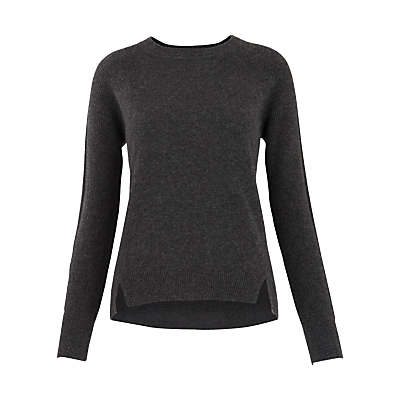 Ribbed Sleeve Cashmere Jumper, Dark Grey - neckline: round neck; pattern: plain; style: standard; predominant colour: charcoal; occasions: casual, creative work; length: standard; fit: slim fit; fibres: cashmere - 100%; sleeve length: long sleeve; sleeve style: standard; texture group: knits/crochet; pattern type: knitted - fine stitch; pattern size: standard; wardrobe: investment; season: a/w 2016
