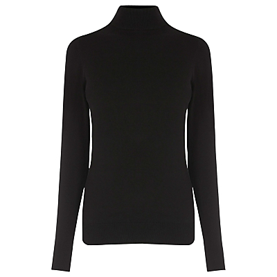 Polo Jumper - pattern: plain; neckline: roll neck; style: standard; predominant colour: black; occasions: casual, creative work; length: standard; fibres: cotton - mix; fit: standard fit; sleeve length: long sleeve; sleeve style: standard; texture group: knits/crochet; pattern type: knitted - fine stitch; season: a/w 2016