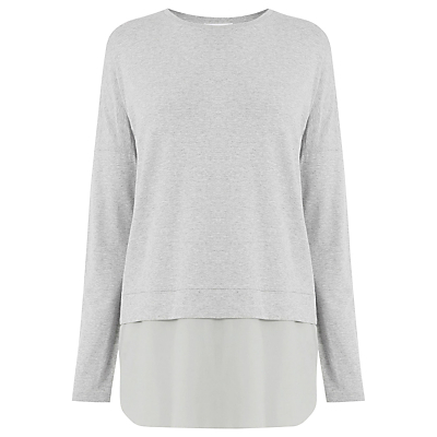 Long Sleeve Woven Hem Top - pattern: plain; predominant colour: light grey; occasions: casual; length: standard; style: top; fibres: viscose/rayon - stretch; fit: body skimming; neckline: crew; sleeve length: long sleeve; sleeve style: standard; pattern type: fabric; texture group: jersey - stretchy/drapey; wardrobe: basic; season: a/w 2016