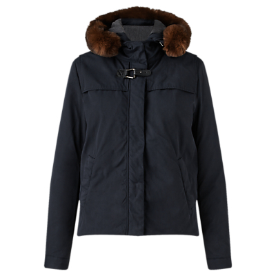 Short Parka, Navy - pattern: plain; length: standard; collar: funnel; style: parka; back detail: hood; predominant colour: navy; secondary colour: tan; occasions: casual; fit: straight cut (boxy); fibres: cotton - 100%; sleeve length: long sleeve; sleeve style: standard; texture group: cotton feel fabrics; collar break: high; pattern type: fabric; embellishment: fur; season: a/w 2016; wardrobe: highlight; embellishment location: neck