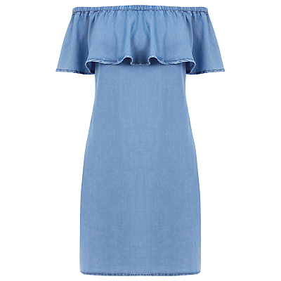 Denim Off The Shoulder Dress, Light Wash Denim - neckline: off the shoulder; pattern: plain; style: sundress; predominant colour: denim; secondary colour: denim; occasions: casual; length: just above the knee; fit: body skimming; fibres: viscose/rayon - stretch; sleeve length: short sleeve; sleeve style: standard; texture group: denim; bust detail: tiers/frills/bulky drapes/pleats; pattern type: fabric; season: a/w 2016; wardrobe: highlight