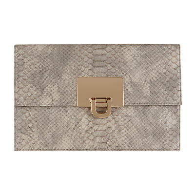 Filippa Snake Skin Clutch, Grey - predominant colour: mid grey; occasions: evening, occasion; type of pattern: standard; style: clutch; length: hand carry; size: standard; material: faux leather; pattern: animal print; finish: plain; season: a/w 2016; wardrobe: event