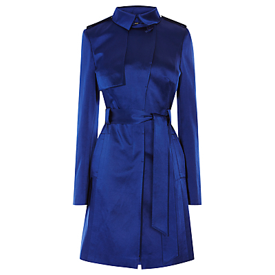Cotton Investment Trench, Blue - style: trench coat; length: on the knee; fit: slim fit; pattern: argyll; predominant colour: royal blue; occasions: casual; fibres: cotton - 100%; collar: shirt collar/peter pan/zip with opening; waist detail: belted waist/tie at waist/drawstring; sleeve length: long sleeve; sleeve style: standard; texture group: structured shiny - satin/tafetta/silk etc.; collar break: high; pattern type: fabric; season: a/w 2016